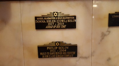 Philip and Donna Solin plaques at Hillside